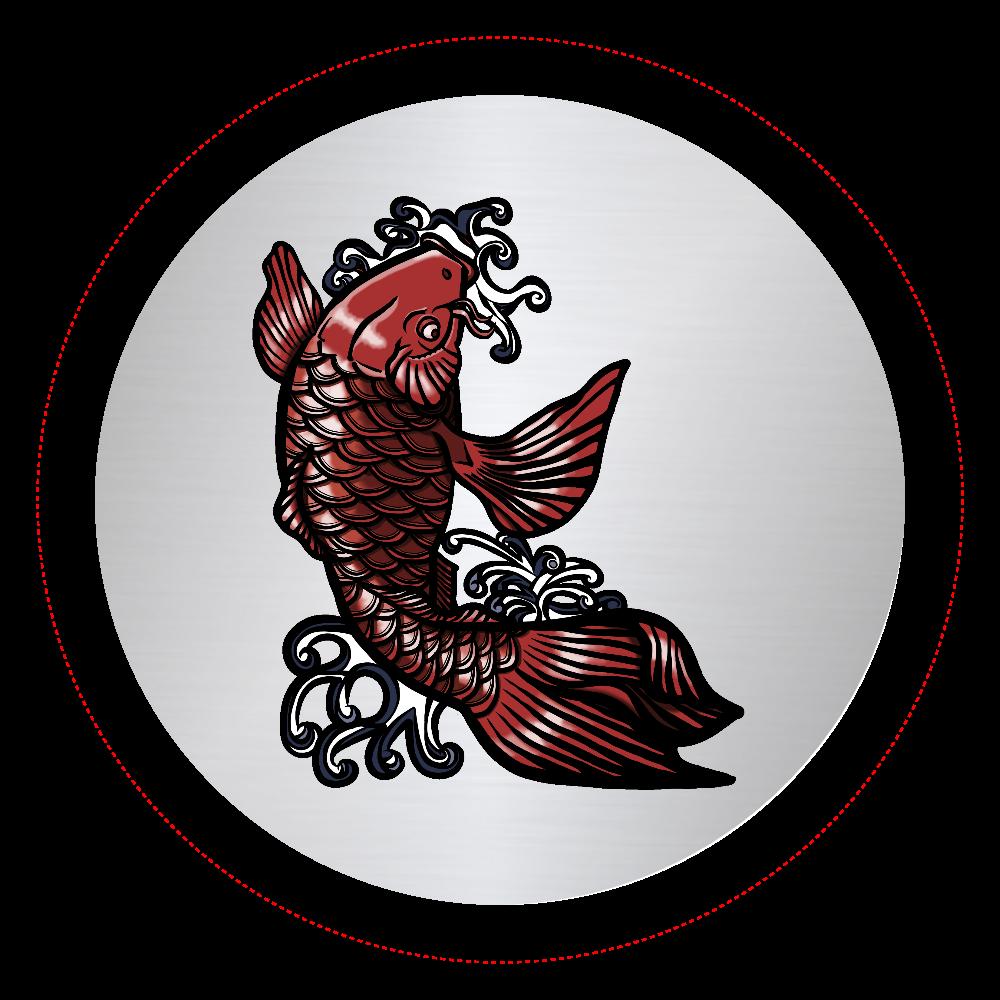 鯉の滝登り 赤 オリジナル缶バッジ(56mm)