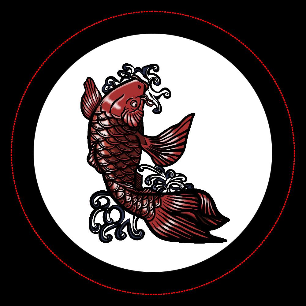 鯉の滝登り 赤 オリジナル缶バッジ白背景(44mm)
