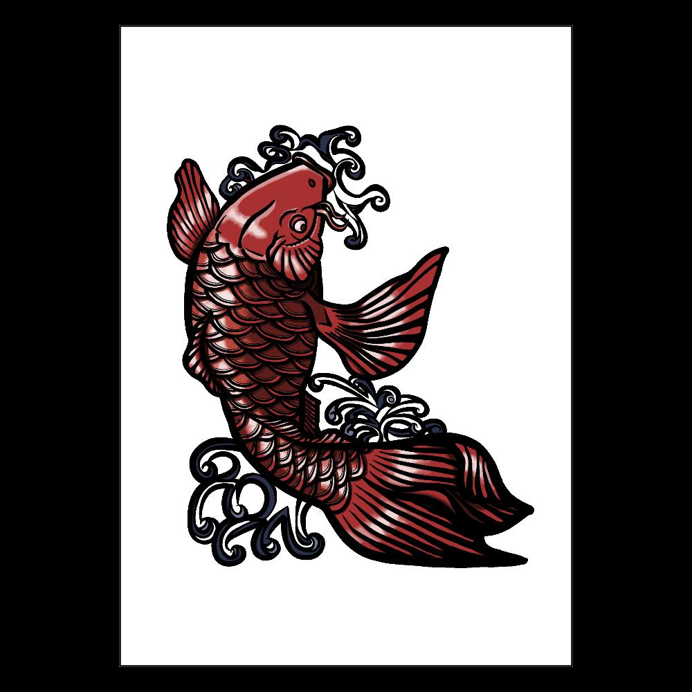 鯉の滝登り 赤 ポスター A1サイズ