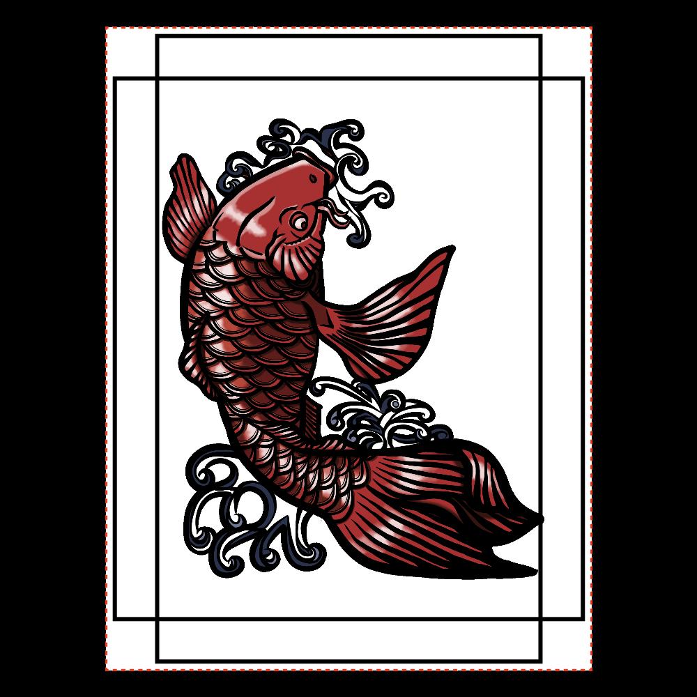 鯉の滝登り 赤 ファブリックパネル(B5サイズ)