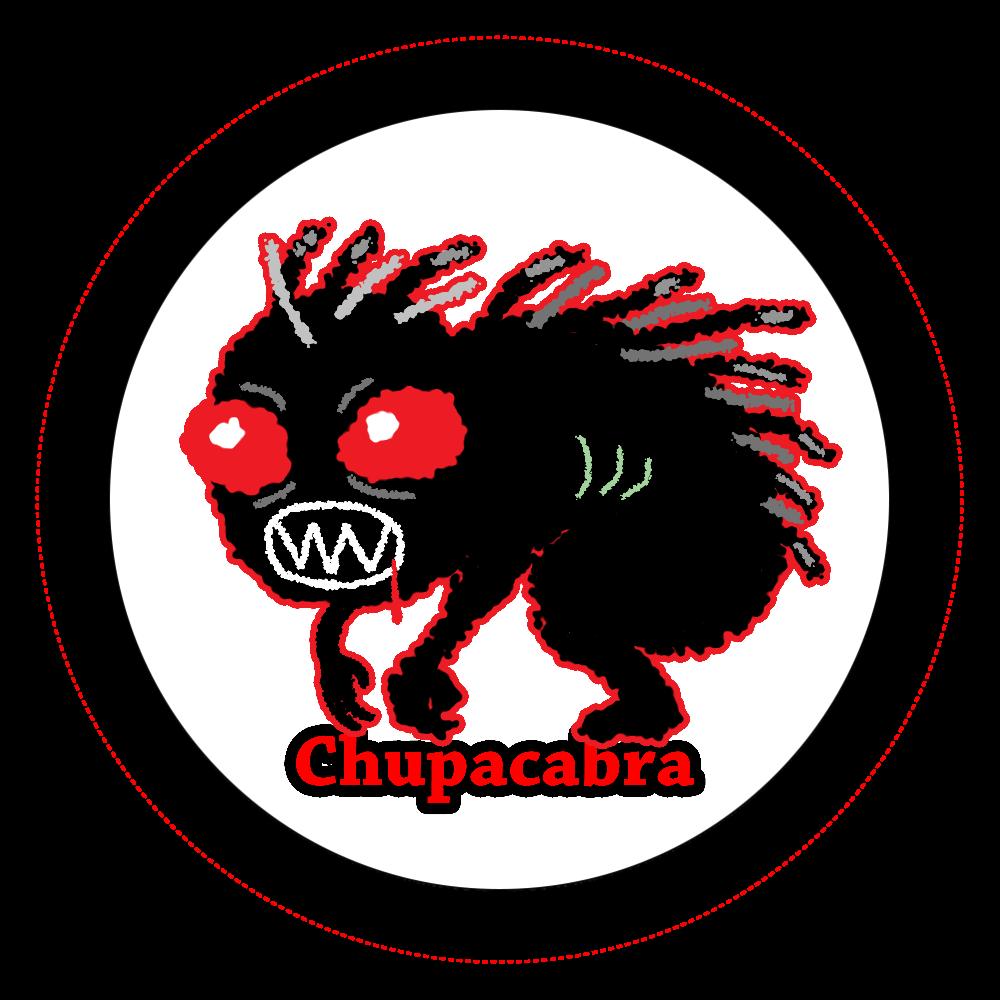 チュパカブラ オリジナル缶バッジ白背景(44mm)