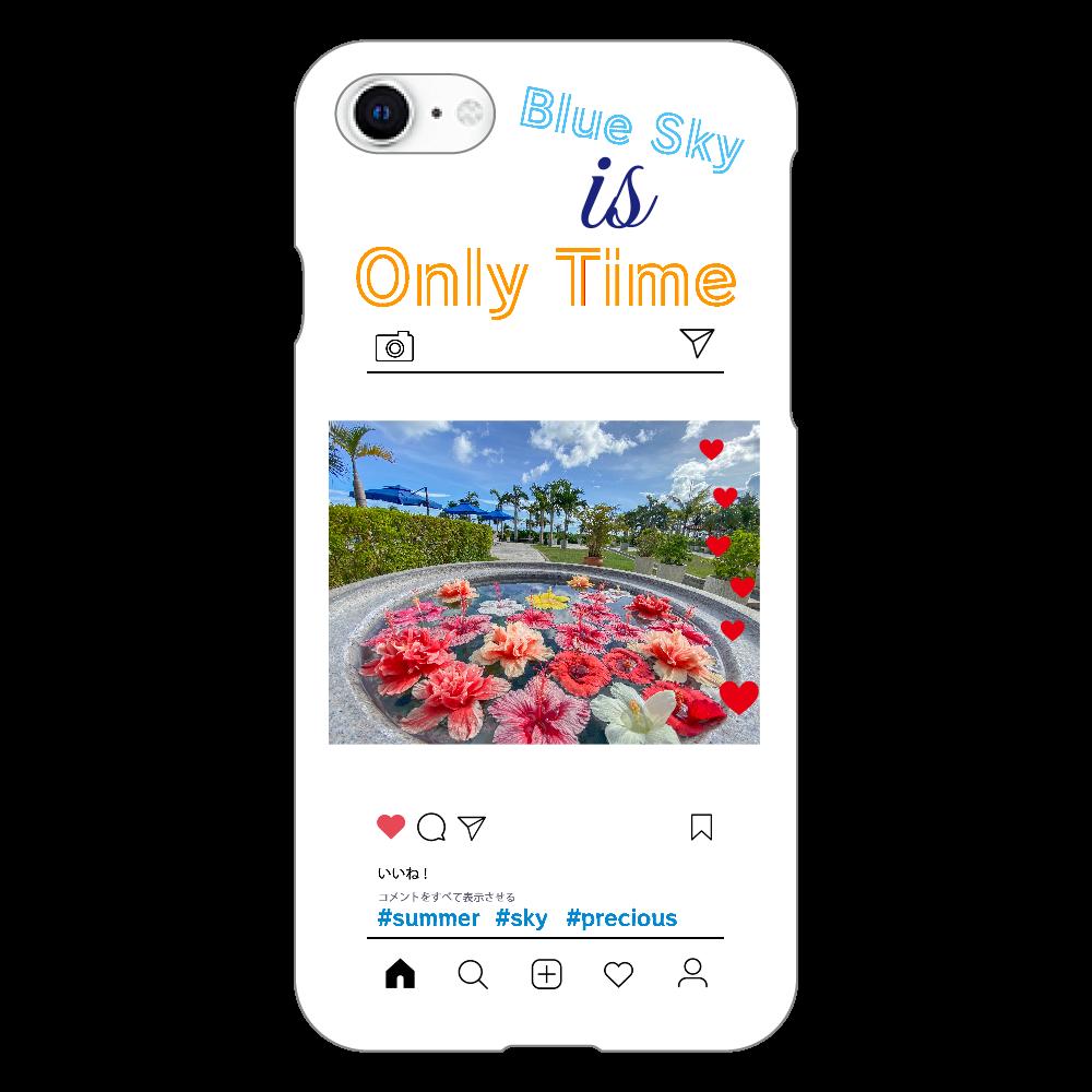 夏、空、ハイビスカスiPhoneSEケース iphoneSE2(透明)