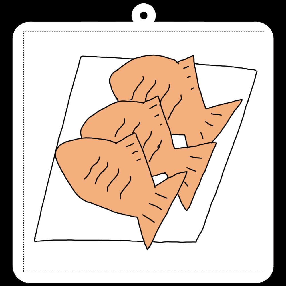 たい焼き三兄弟 70×70mm アクリルキーホルダー(正方形)