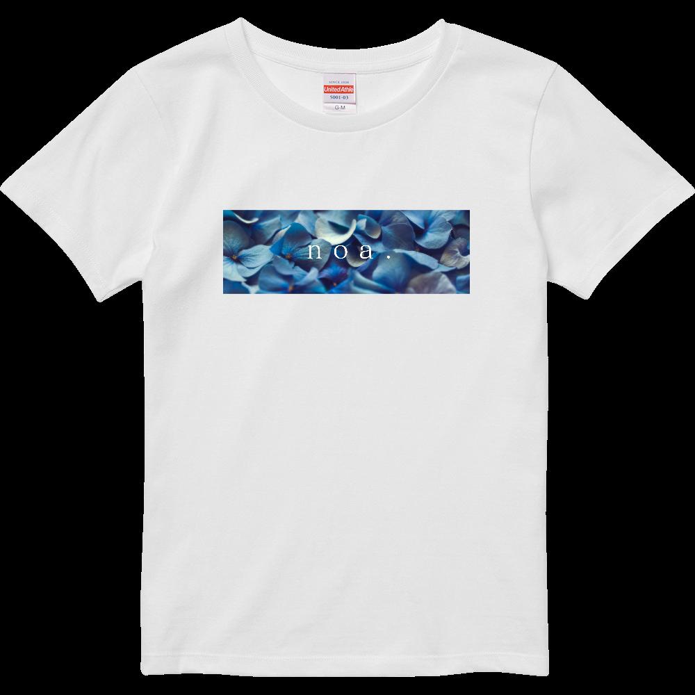 Blue Flower Photo T-shitrt ハイクオリティーTシャツ(ガールズ)