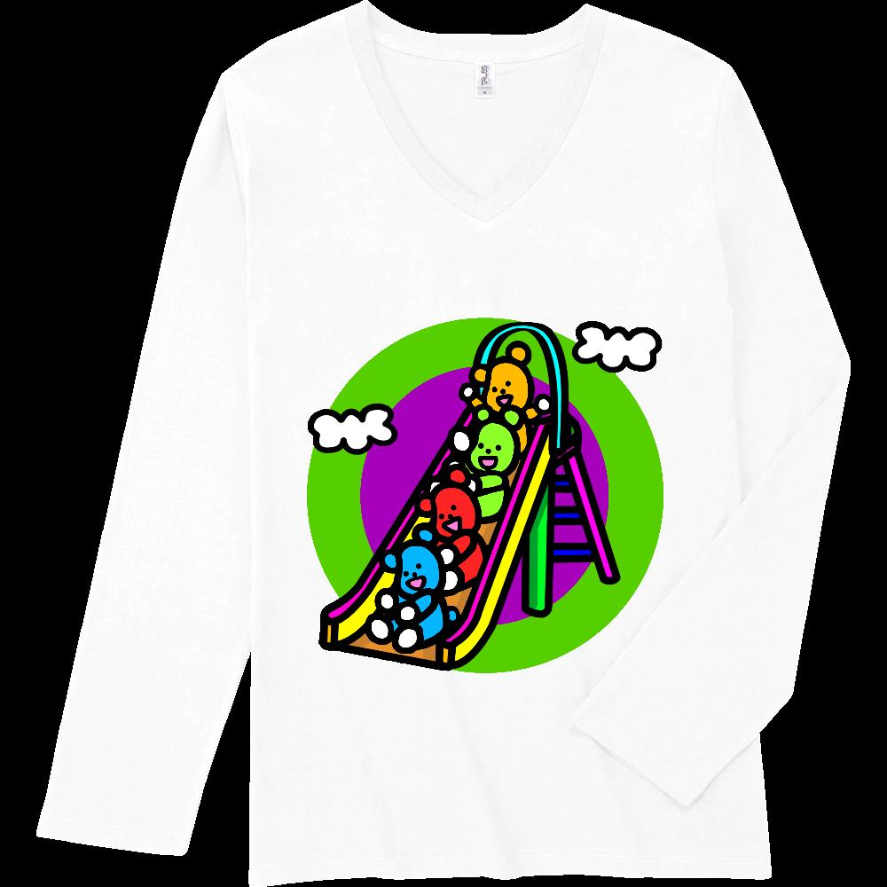 くまの遊び スリムフィット VネックロングスリーブTシャツ