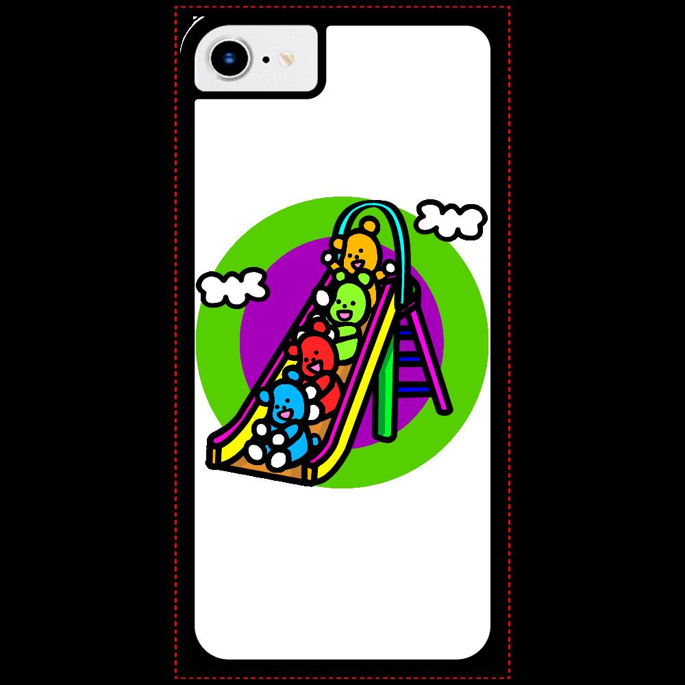 くまの遊び iPhoneSE2_クリアパネルラバーケース