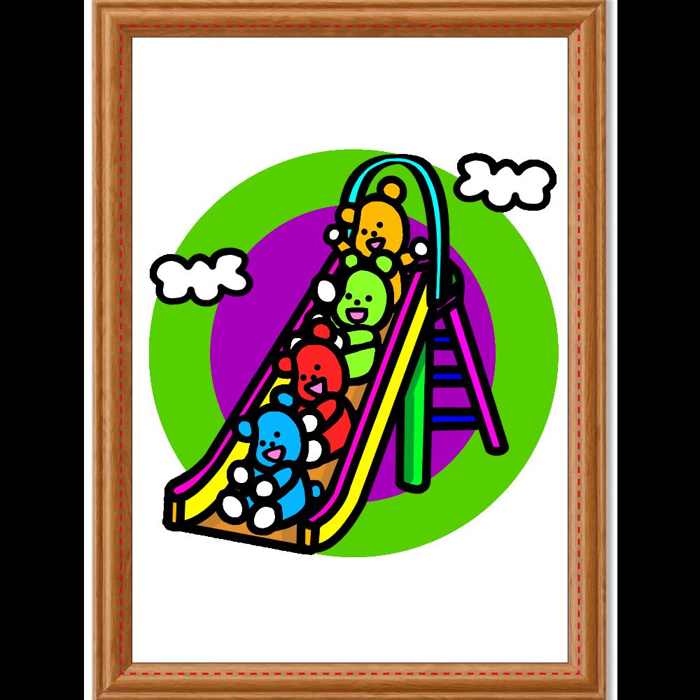 くまの遊び アートデザインパネル (A4 光沢紙)