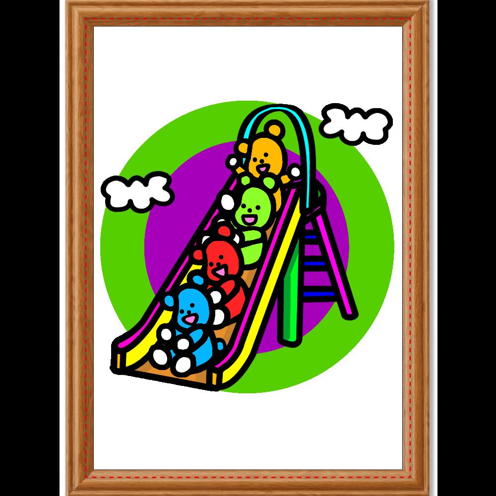 くまの遊び アートデザインパネル (A4 キャンバス)