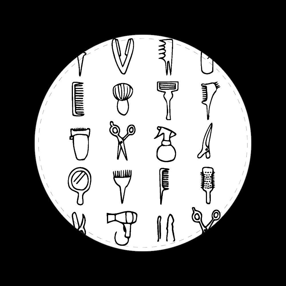 美容師の道具 56㎜缶バッジ