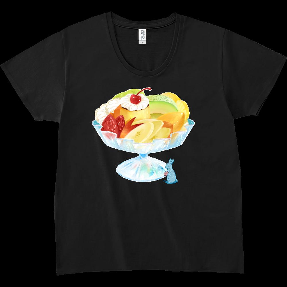 純喫茶ブルーラビット プリンアラモード&オーナー スリムフィットUネックTシャツ スリムフィット UネックTシャツ