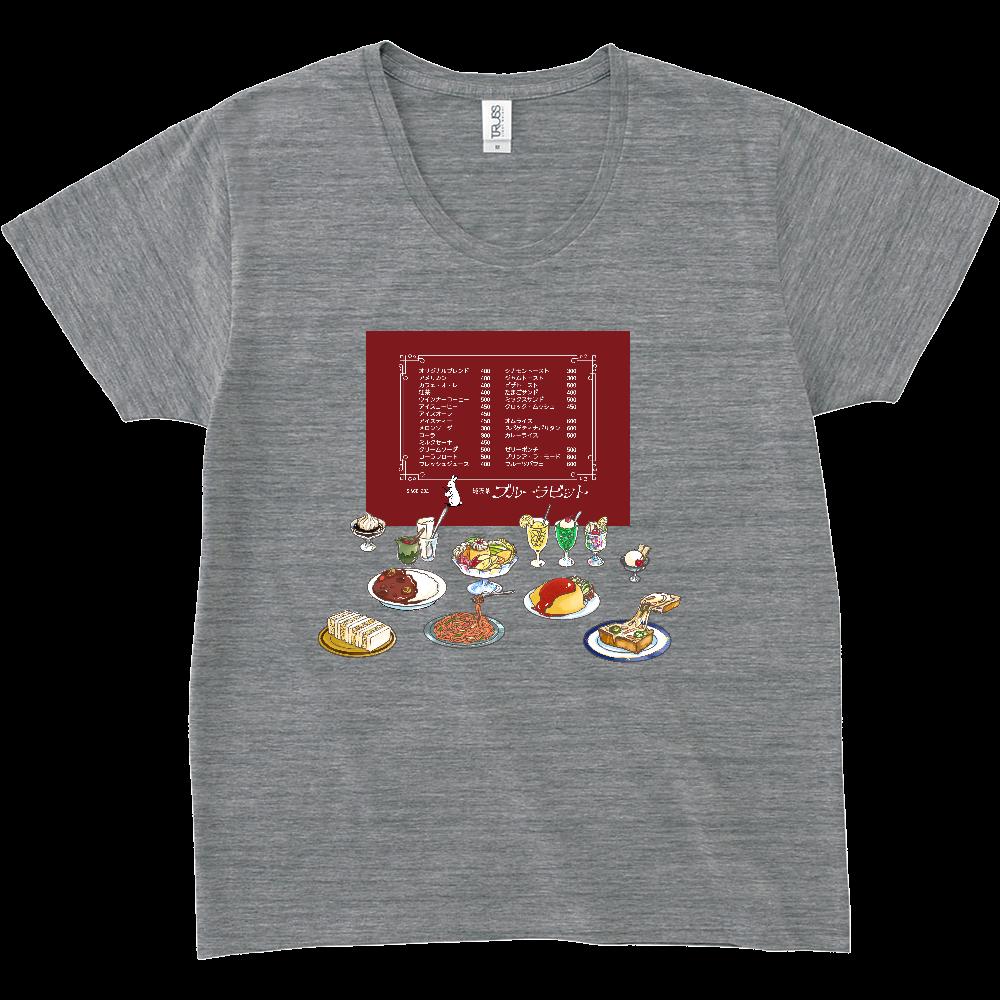 純喫茶ブルーラビット おなかいっぱい仕様 スリムフィットUネックTシャツ スリムフィット UネックTシャツ