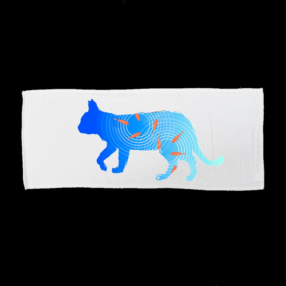 金魚と猫 全面インクジェットフェイスタオル