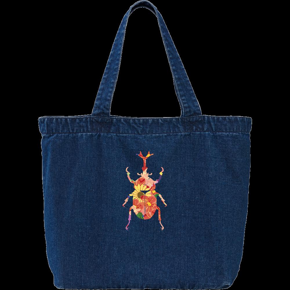 花柄カブトムシ デニム ラージ トートバッグ