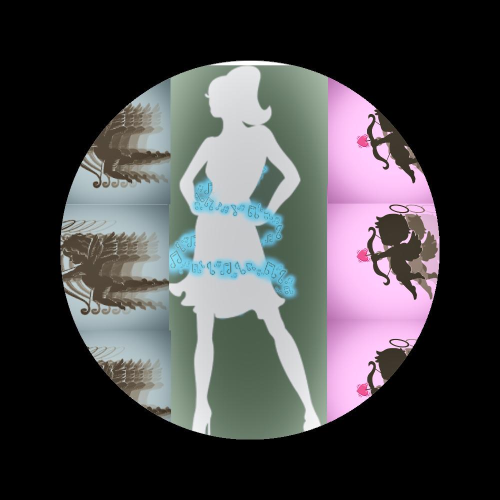 女性( ꈍᴗꈍ)と天使( ꈍᴗꈍ) 56㎜缶バッジ