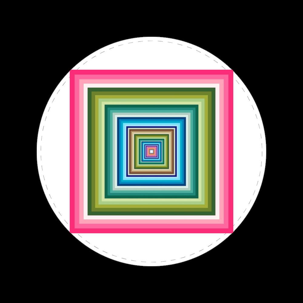 四角の視覚。 56㎜缶バッジ