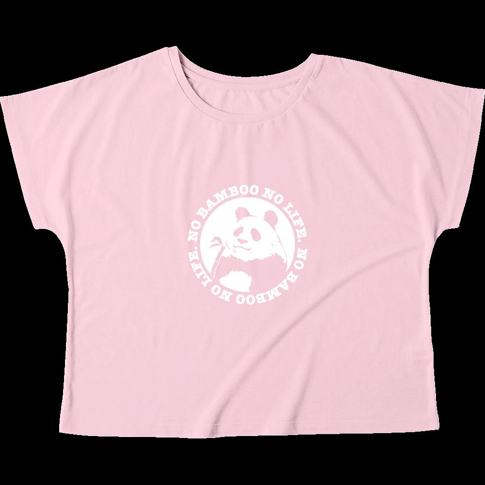 パンダ3 カラー下地透けパターン ウィメンズ ドルマン Tシャツ