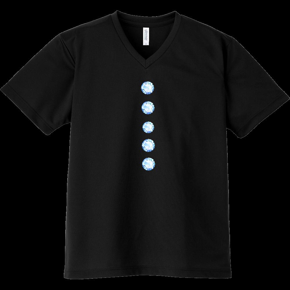 キラキラボタン風VネックTシャツ ドライVネックTシャツ