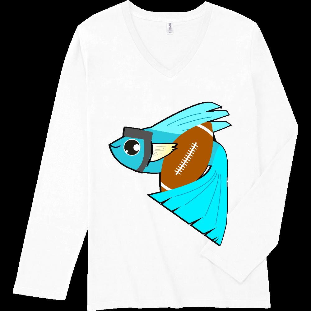 ラグッピー - ラグビーをするグッピー スリムフィット VネックロングスリーブTシャツ