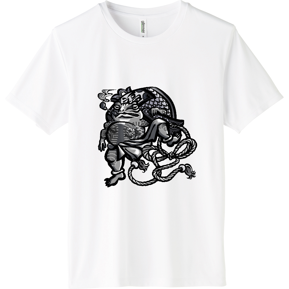 福を呼ぶ蛙と打ち出の小づち インターロックドライTシャツ
