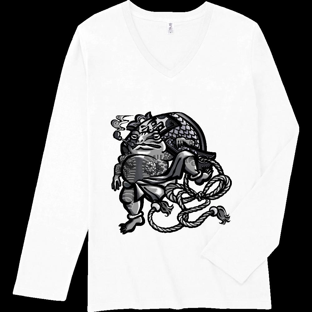 福を呼ぶ蛙と打ち出の小づち スリムフィット VネックロングスリーブTシャツ
