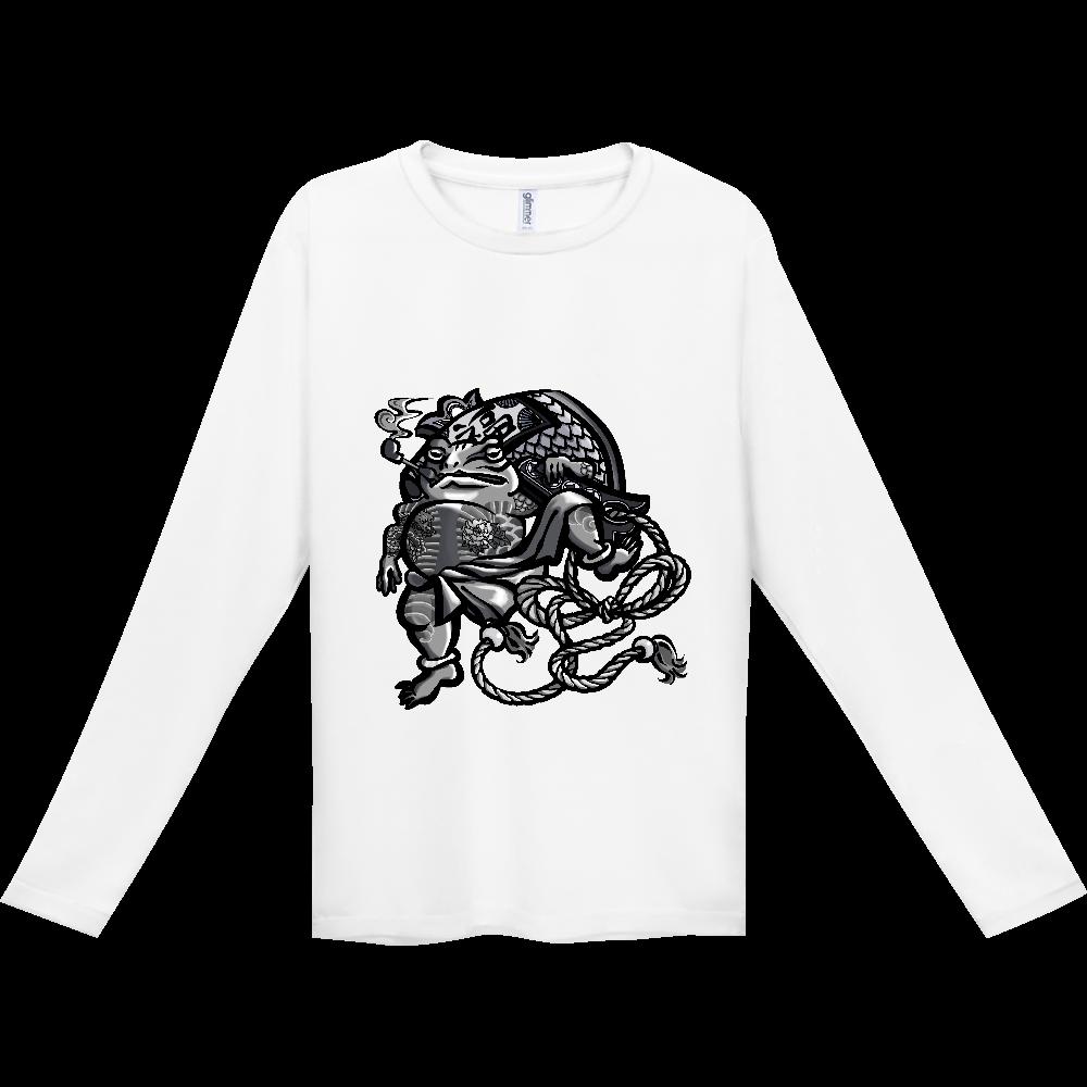 福を呼ぶ蛙と打ち出の小づち インターロック ドライ長袖Tシャツ
