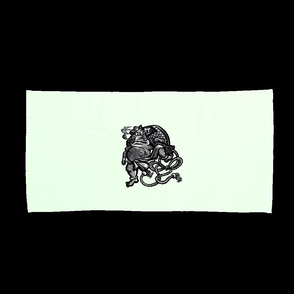 福を呼ぶ蛙と打ち出の小づち スポーツタオル