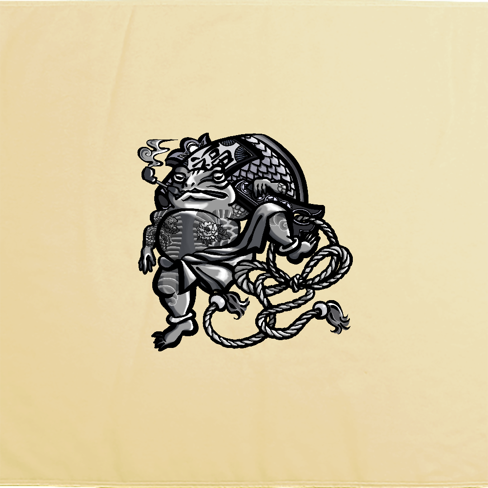 福を呼ぶ蛙と打ち出の小づち シャーリングバスタオル