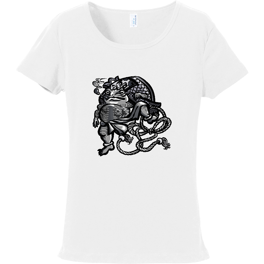 福を呼ぶ蛙と打ち出の小づち フライスTシャツ