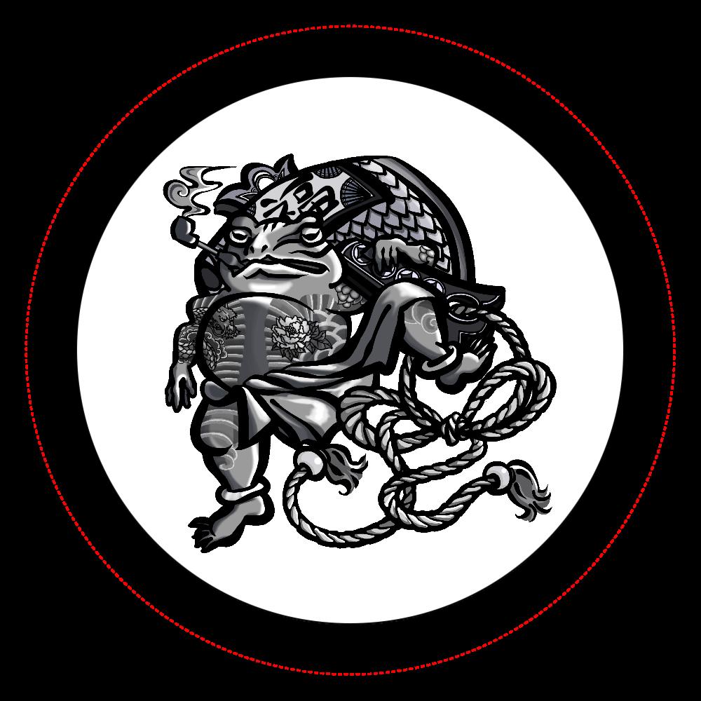 福を呼ぶ蛙と打ち出の小づち オリジナル缶バッジ白背景(44mm)