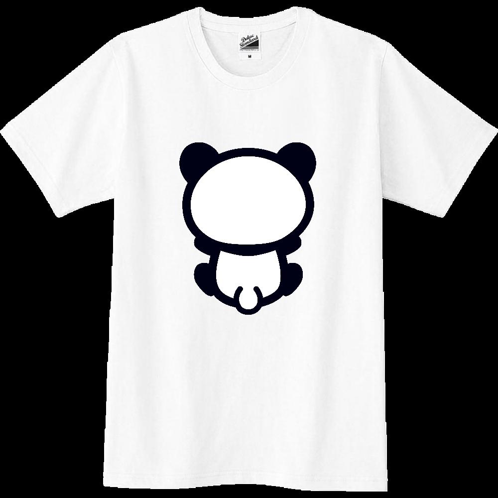 【パンダの背中】背中を向けて座るパンダのTシャツ(正面プリント)黒 スリムTシャツ