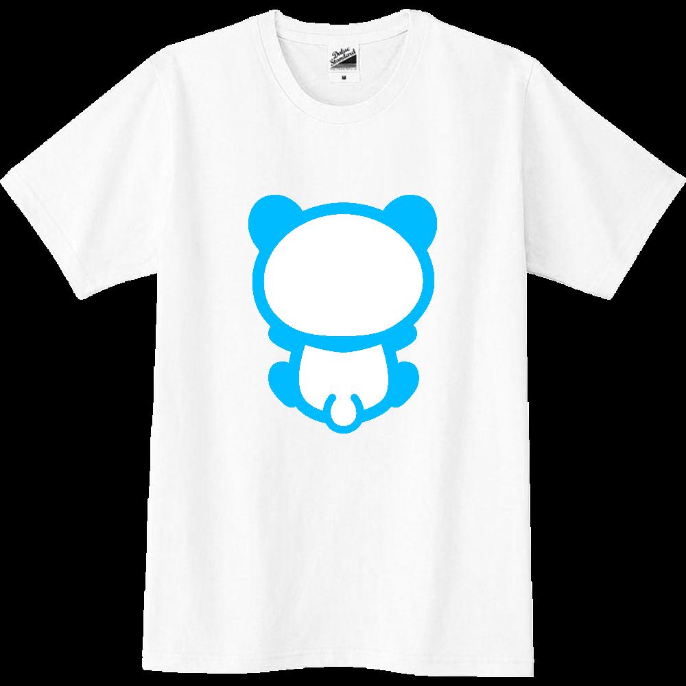 【パンダの背中】背中を向けて座るパンダのTシャツ(正面プリント)青 スリムTシャツ