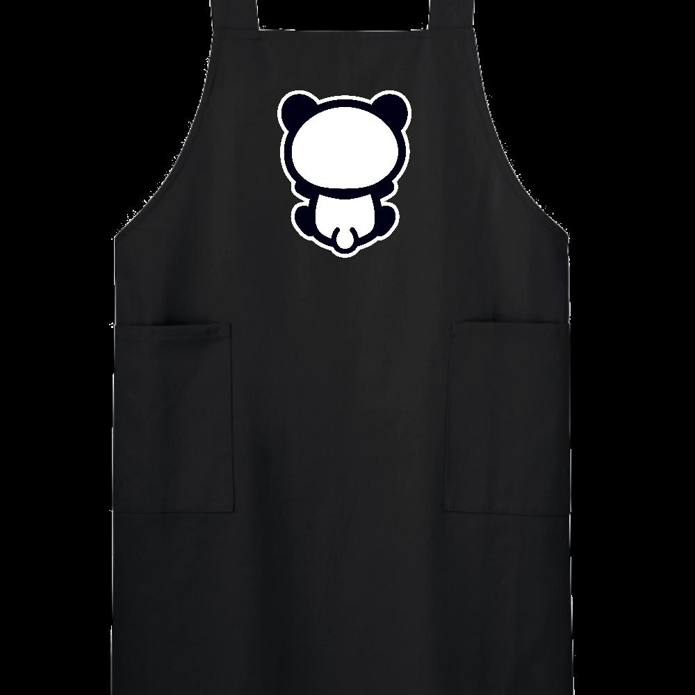 【パンダの背中】背中を向けて座るパンダのエプロン 黒 H型エプロン