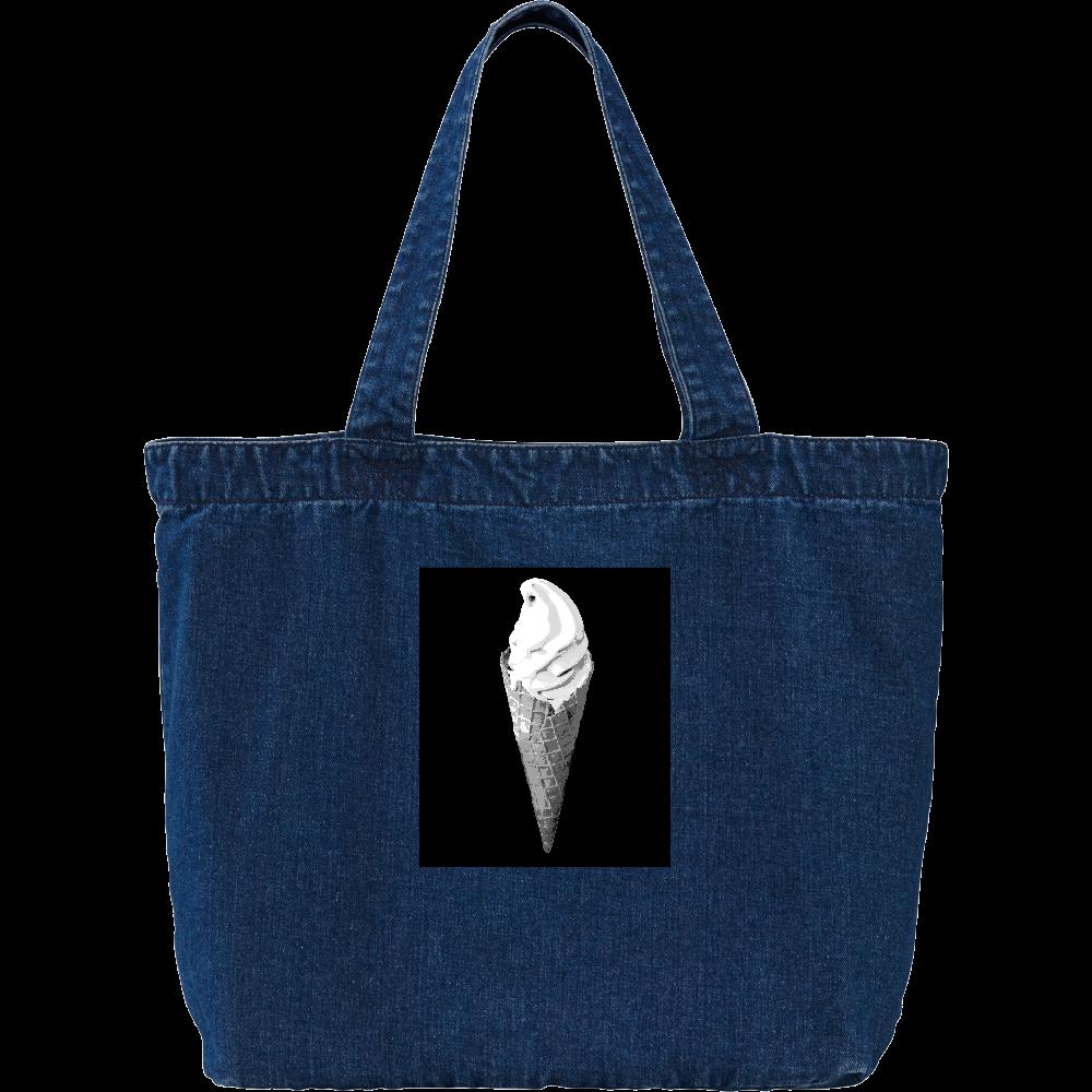 ワッフルコーンのソフトクリーム デニム ラージ トートバッグ