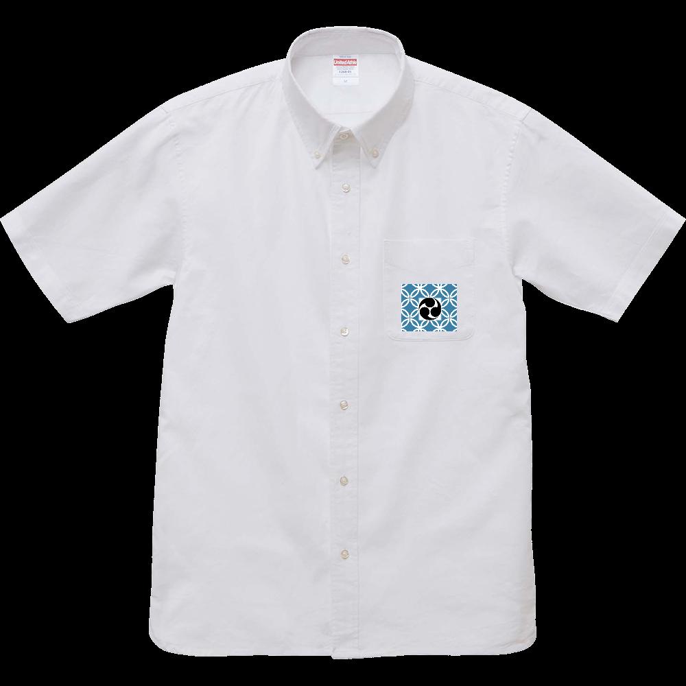 和柄ワンポイントシャツ オックスフォードボタンダウンショートスリーブシャツ