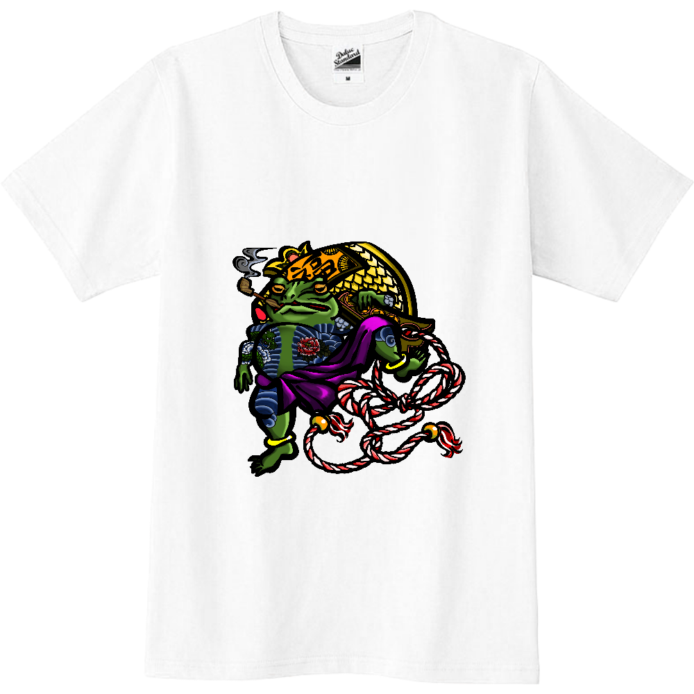 福を呼ぶ蛙と打ち出の小づち 彩色仕様 スリムTシャツ