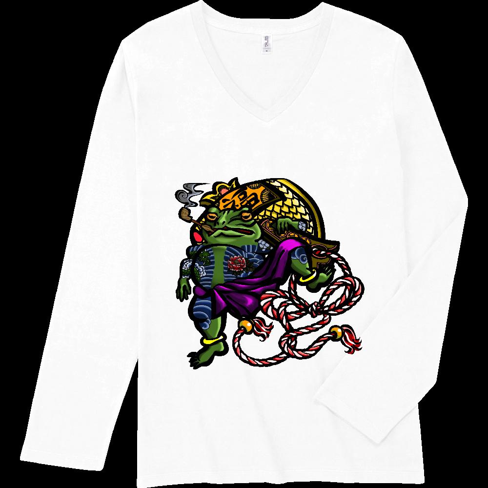 福を呼ぶ蛙と打ち出の小づち 彩色仕様 スリムフィット VネックロングスリーブTシャツ