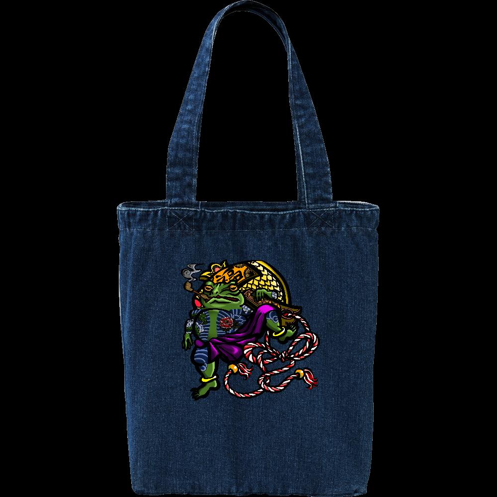 福を呼ぶ蛙と打ち出の小づち 彩色仕様 デニム トートバッグ