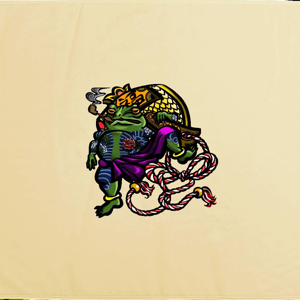 福を呼ぶ蛙と打ち出の小づち 彩色仕様 シャーリングバスタオル