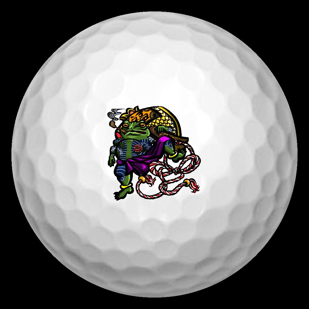 福を呼ぶ蛙と打ち出の小づち 彩色仕様 ゴルフボール(3個セット)