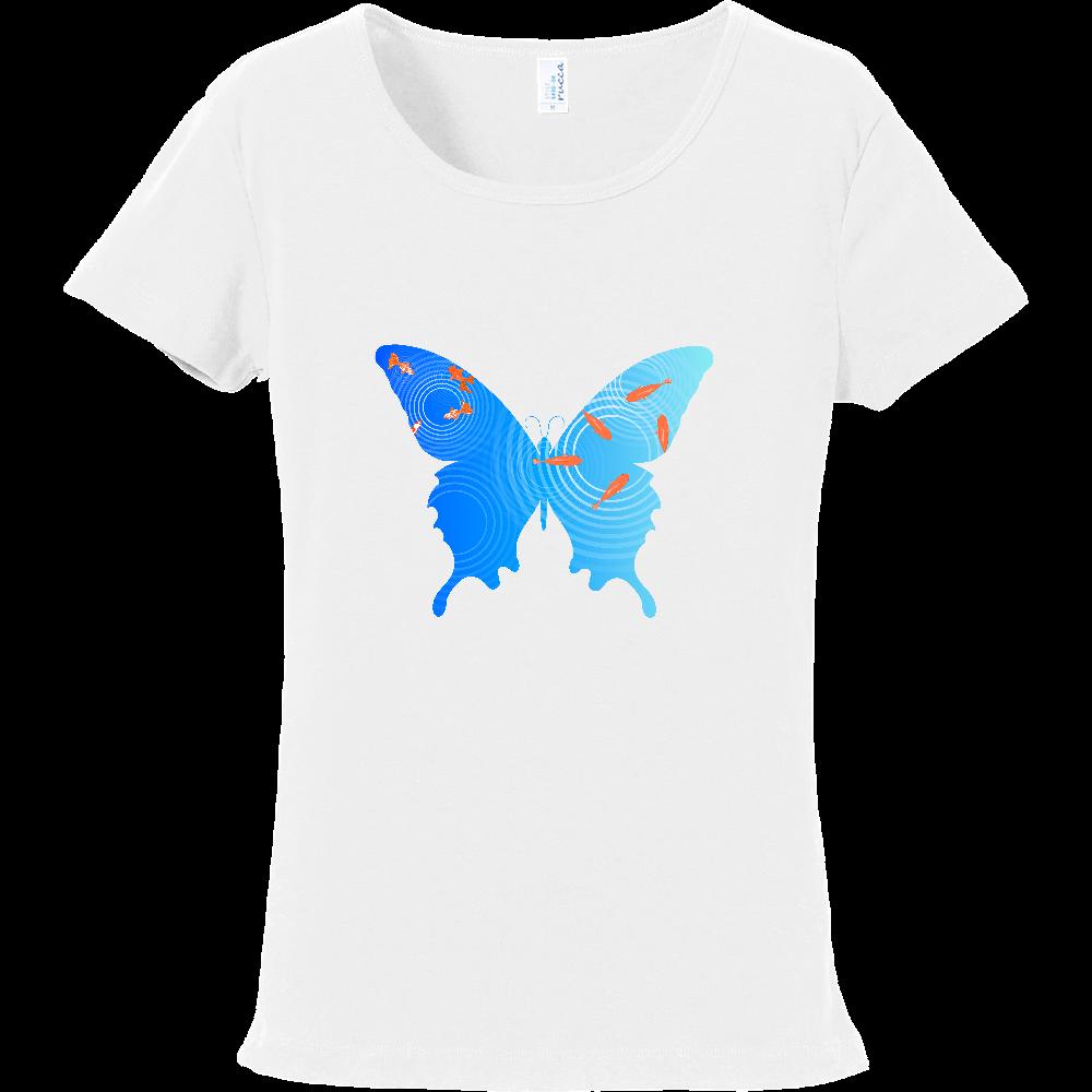 水面の金魚と蝶々 フライスTシャツ