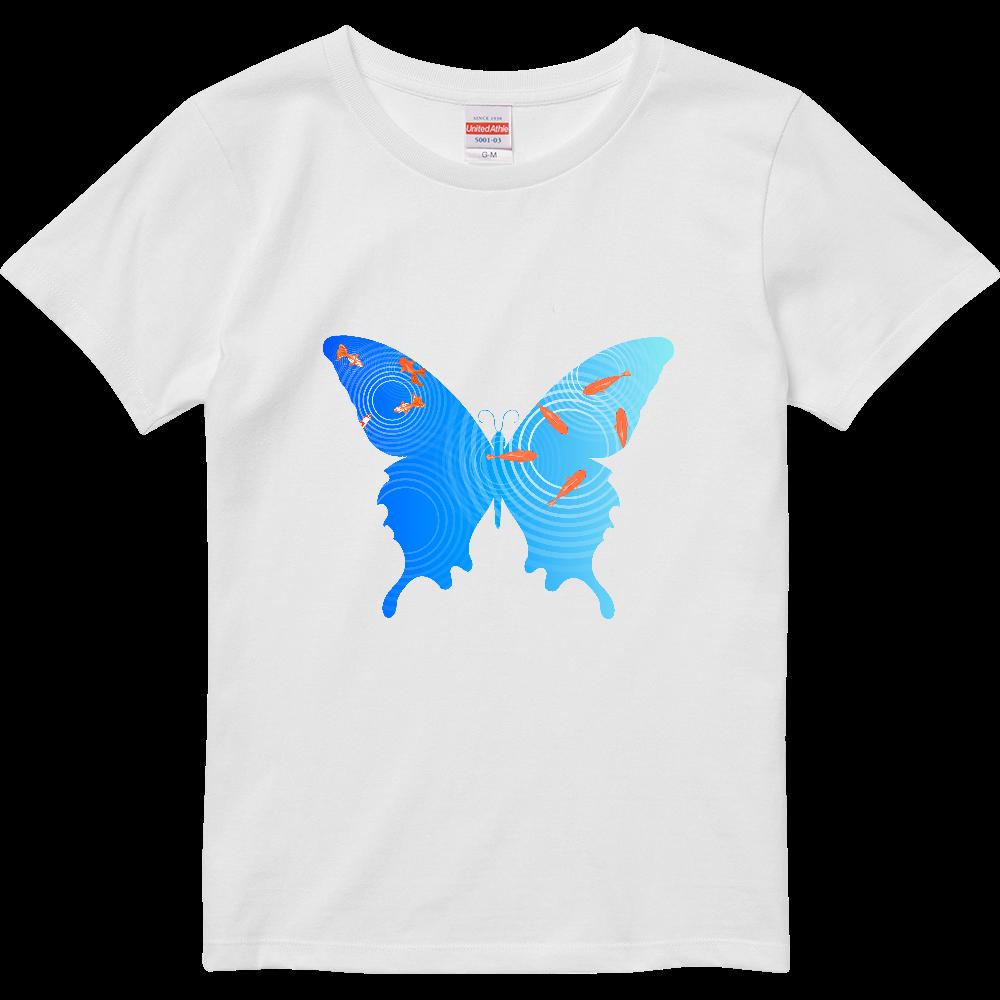 水面の金魚と蝶々 ハイクオリティーTシャツ(ガールズ)