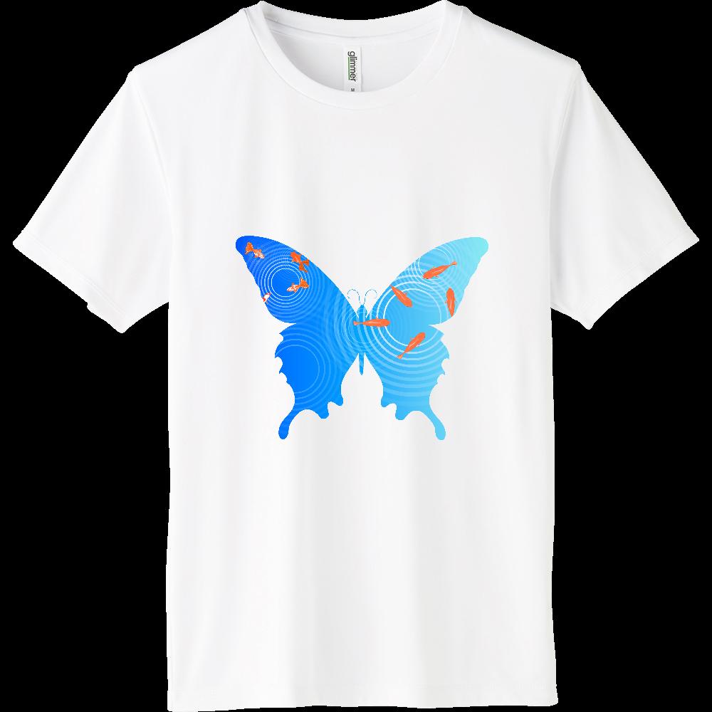 水面の金魚と蝶々 インターロックドライTシャツ