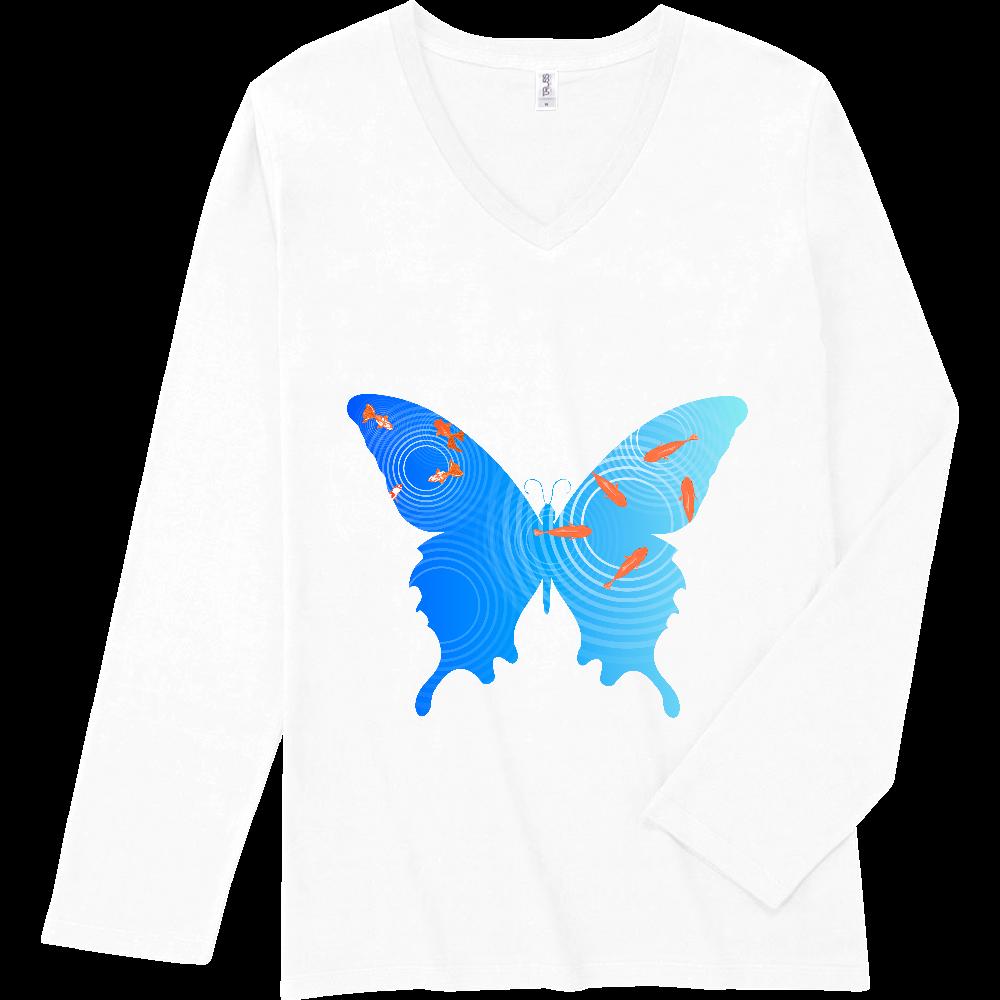 水面の金魚と蝶々 スリムフィット VネックロングスリーブTシャツ