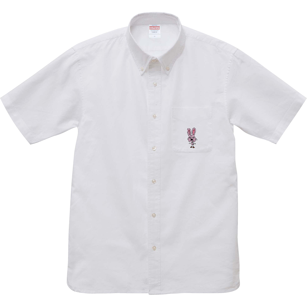 うさぎさんです。 オックスフォードボタンダウンショートスリーブシャツ