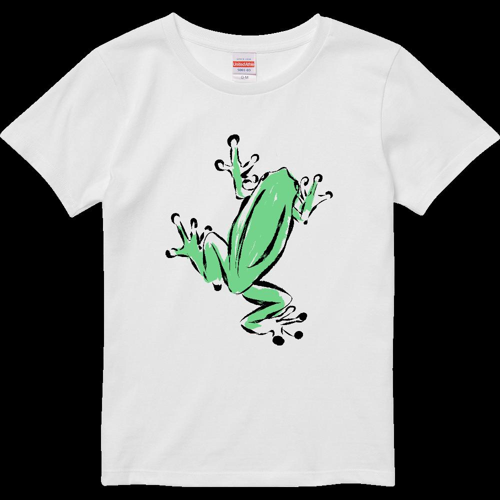 アートインクで描いたカエル ハイクオリティーTシャツ(ガールズ)