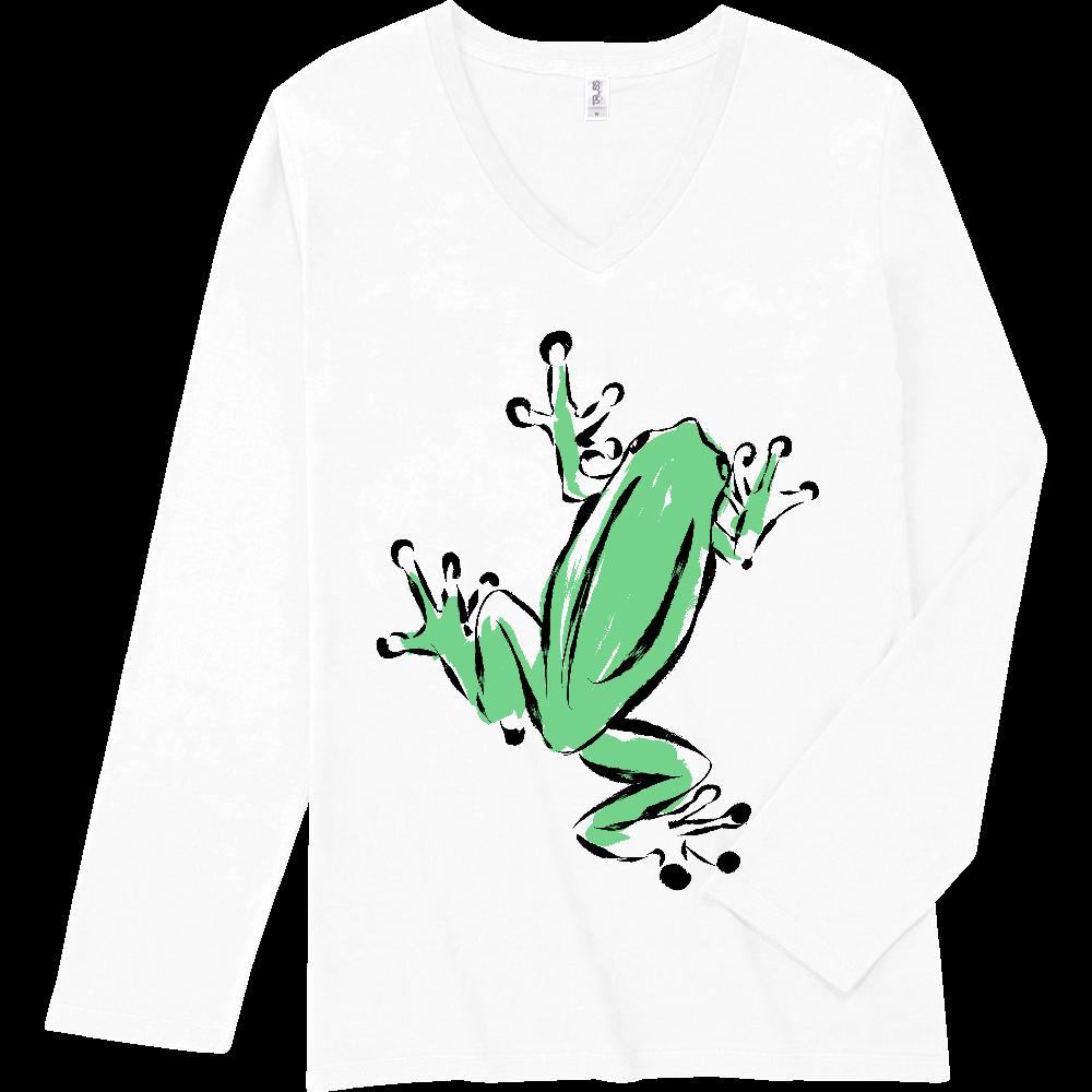 アートインクで描いたカエル スリムフィット VネックロングスリーブTシャツ