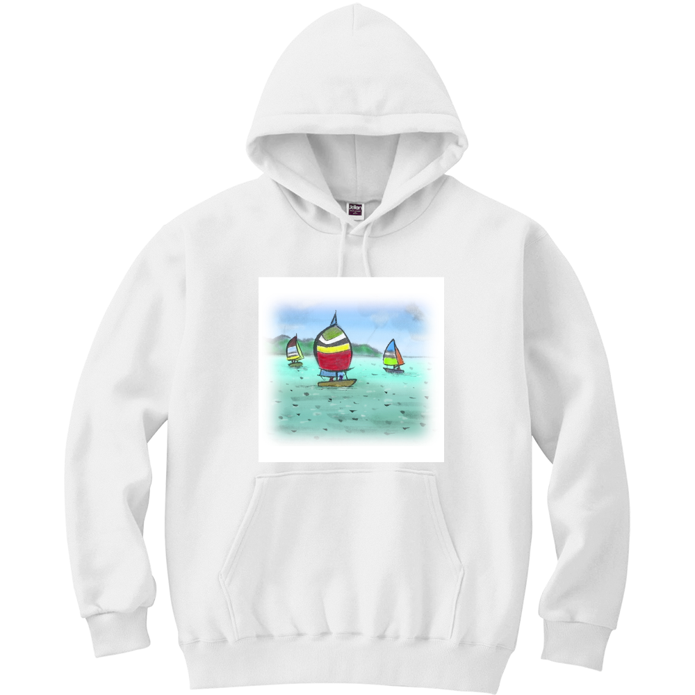 パーカー デジタル墨絵ヨット 軽量プルパーカー (長袖プリント)