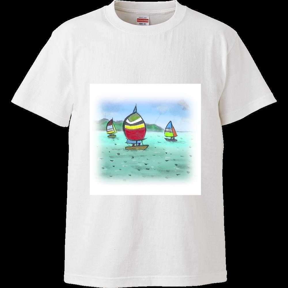 ハイクオリティTシャツ デジタル墨絵ヨット ハイクオリティーTシャツ