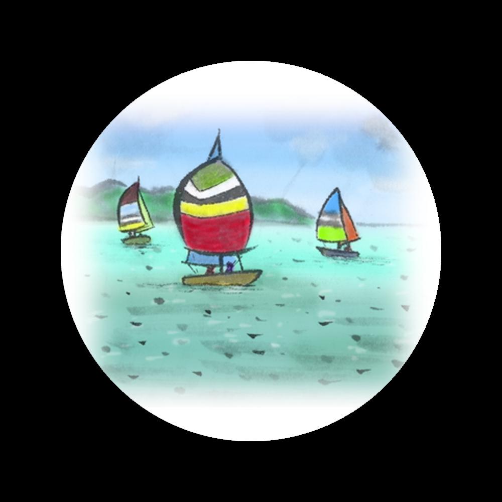 缶バッチ デジタル墨絵ヨット 56㎜缶バッジ