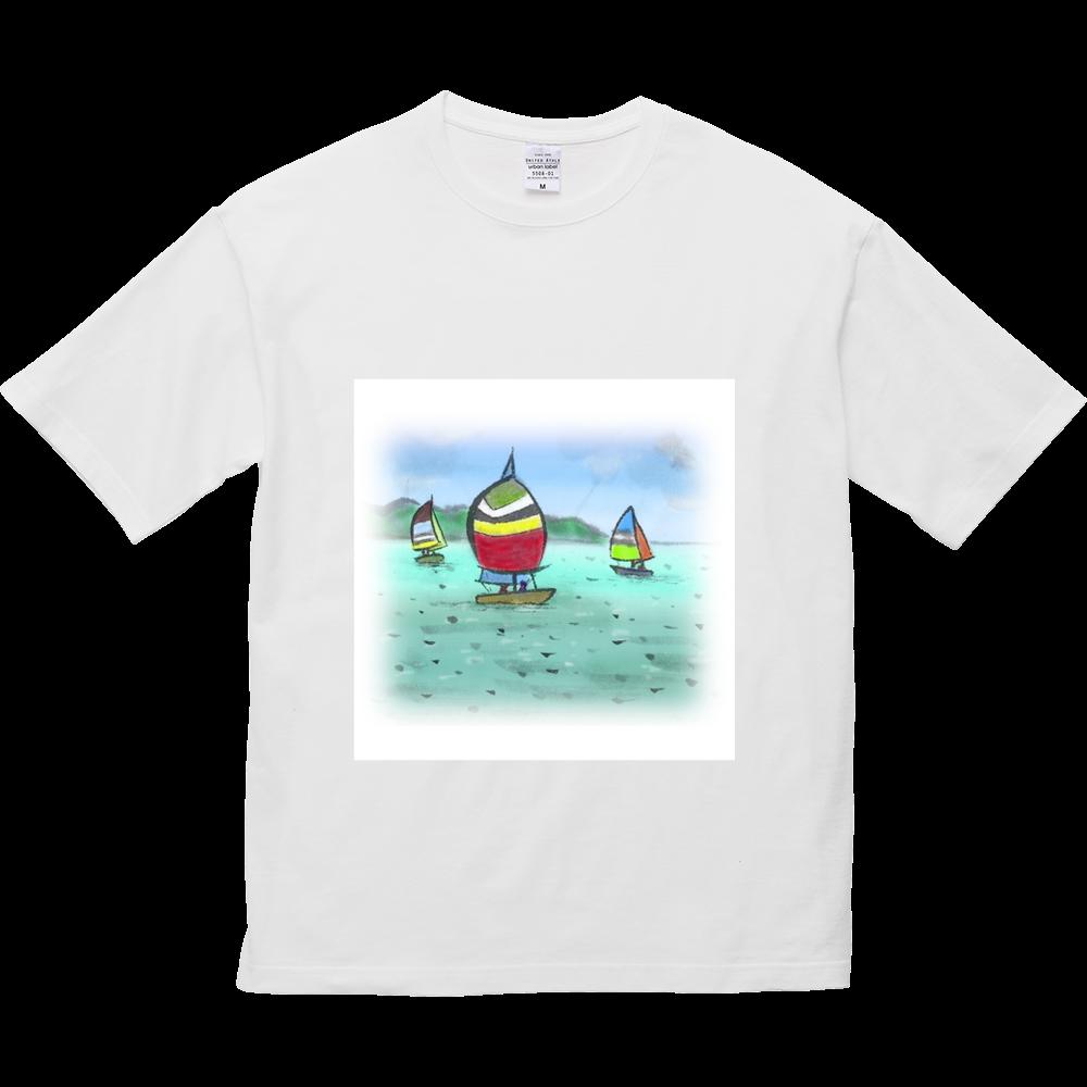 5.6オンスビックシルエットTシャツ デジタル墨絵ヨット 5.6オンス ビッグシルエット Tシャツ